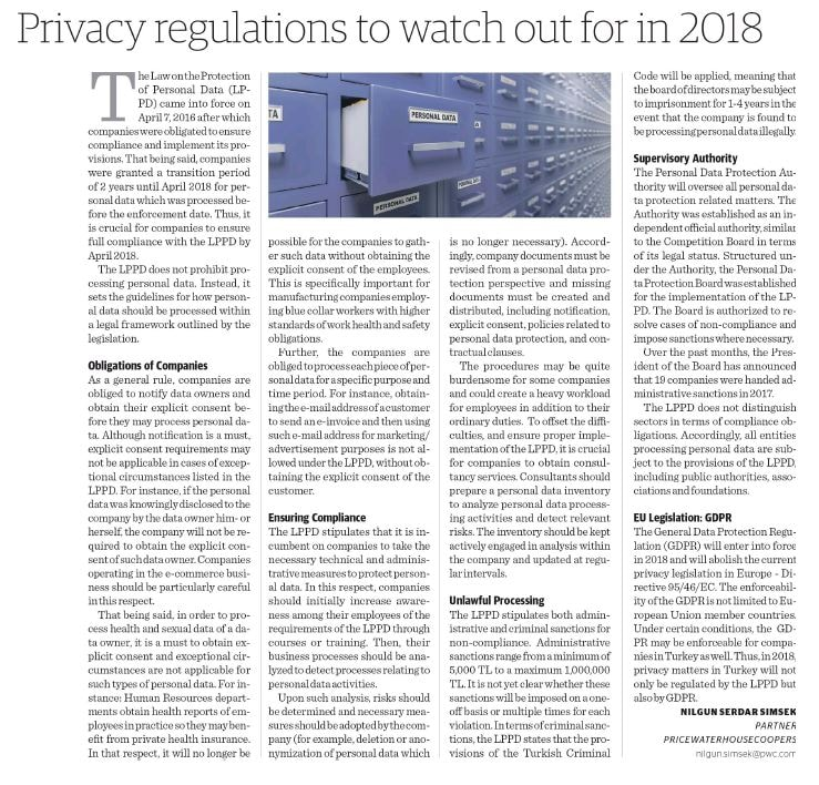 Privacy Regulations To Watch Out In 2018 | PwC Turkey